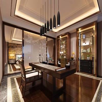 中式书房, 吊灯, 边柜, 桌子, 椅子, 置物柜, 壁画, 中式