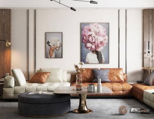 现代客厅, 沙发茶几组合, 壁画, 落地灯, 边几, 吊灯, 沙发凳, 地毯, 现代