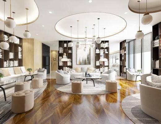 会所, 桌子, 椅子, 吊灯, 置物柜, 多人沙发, 现代