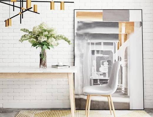 桌椅组合, 桌子, 椅子, 花瓶花卉, 现代