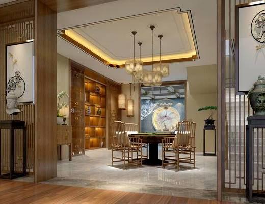 棋牌室, 吊灯, 桌子, 椅子, 边几, 壁画, 置物柜, 盆栽, 边柜, 台灯, 地毯, 中式
