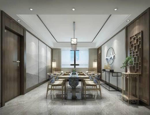 中式餐厅, 桌子, 椅子, 吊灯, 边几, 多人沙发, 落地灯, 盆栽, 中式