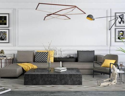 沙发组合, 多人沙发, 茶几, 壁灯, 壁画, 吊灯, 椅子, 边几, 盆栽, 现代