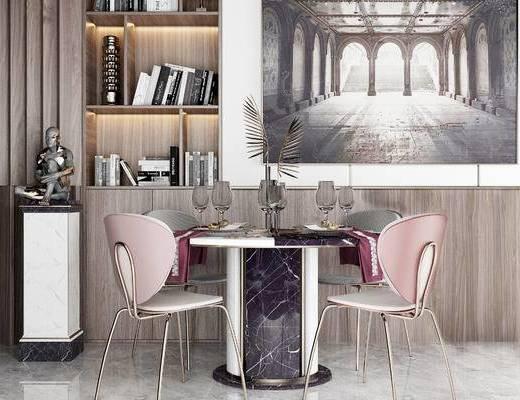 桌椅组合, 桌子, 椅子, 置物柜, 壁画, 现代