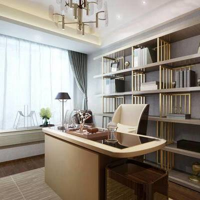 后现代书房, 吊灯, 书桌, 椅子, 书柜, 飘窗, 落地灯, 壁画, 台灯, 后现代