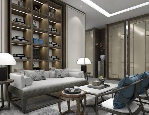 中式, 沙发茶几组合, 置物柜, 陈设品组合, 台灯