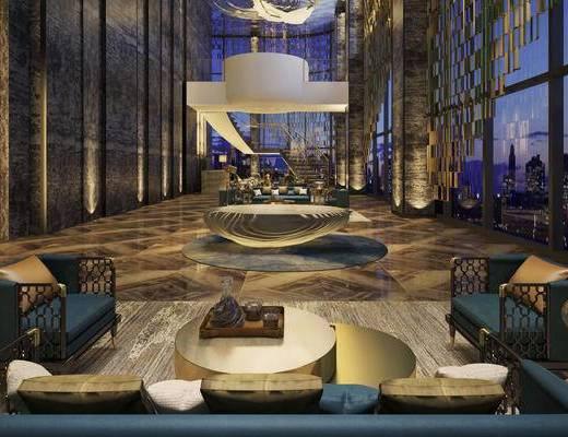 现代简约, 酒店大堂, 沙发茶几组合, 吊灯, 1000套空间酷赠送模型