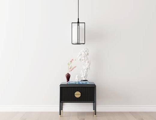 摆件组合, 装饰柜, 边柜, 吊灯, 花瓶, 新中式