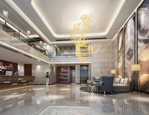 现代前台, 多人沙发, 壁画, 落地灯, 椅子, 边几, 置物柜, 现代