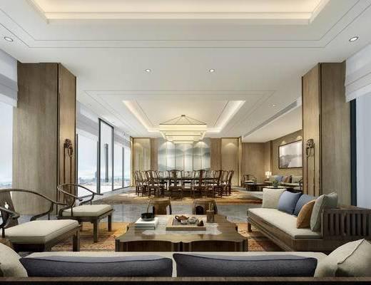 中式客厅, 多人沙发, 茶几, 凳子, 台灯, 边几, 桌子, 椅子, 吊灯, 中式