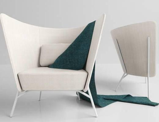 北欧简约, 白色, 单人沙发