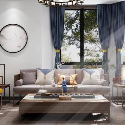 新中式客厅, 新中式沙发, 茶几, 壁画, 椅子, 边几, 台灯, 盆栽, 新中式