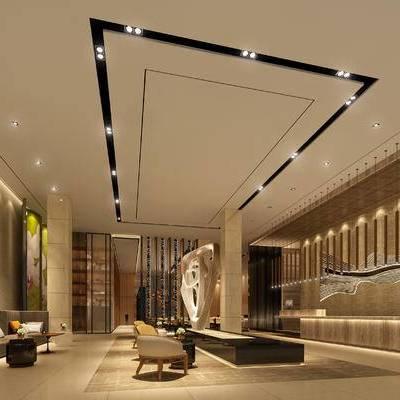 大厅, 落地灯, 前台, 多人沙发, 壁画, 置物柜, 椅子, 吊灯, 现代