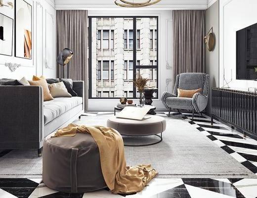 北欧客厅, 多人沙发, 茶几, 电视柜, 椅子, 壁画, 沙发凳, 吊灯, 边几, 北欧