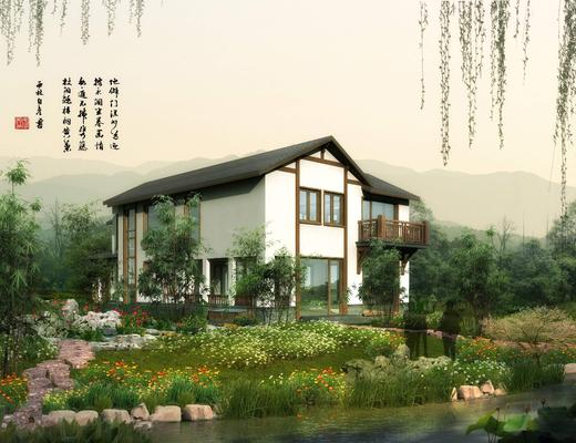 别墅, 门面门头, 草地, 竹子, 花卉, 池塘, 植物, 树木, 石头, 中式