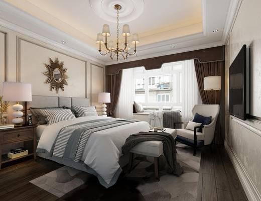 美式, 卧室, 床, 吊灯, 落地灯, 沙发, 床头柜, 装饰镜