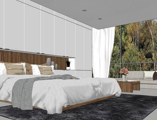 卧室, 床, 床具, 书桌, 电脑, 床头柜, 挂画, 装饰品, 现代, 现代卧室