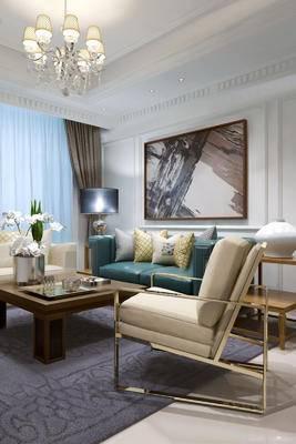 沙发组合, 壁画, 多人沙发, 边几, 台灯, 茶几, 花瓶, 椅子, 后现代