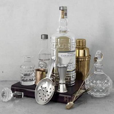 美式, 摆件组合, 酒瓶, 酒杯, 调酒器, 托盘