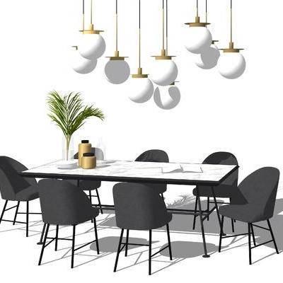桌椅组合, 餐桌, 椅子, 吊灯, 花瓶, 植物, 现代