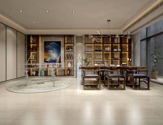 茶室, 桌子, 椅子, 储物柜, 盆栽, 中式