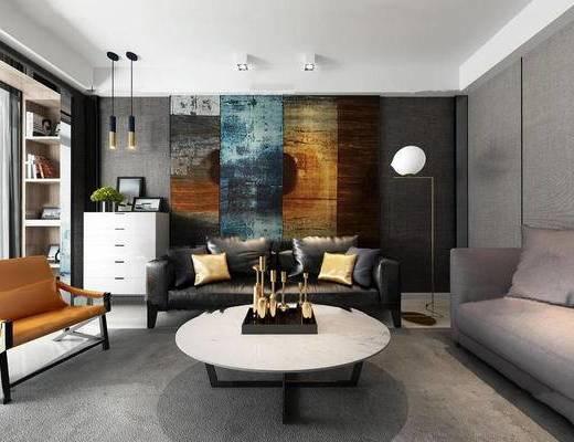 现代, 沙发, 茶几, 落地灯, 吊灯, 柜, 植物, 陈设品