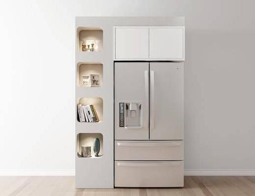 摆件组合, 冰箱, 酒柜, 现代