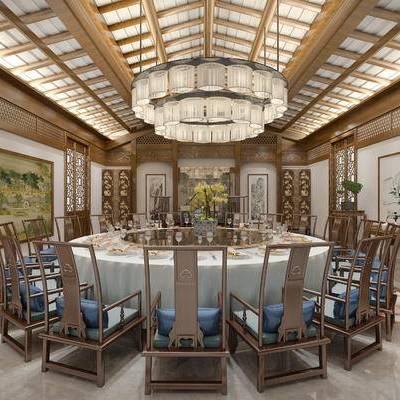 包厢, 吊灯, 壁画, 桌子, 椅子, 边几, 花瓶, 盆栽, 中式