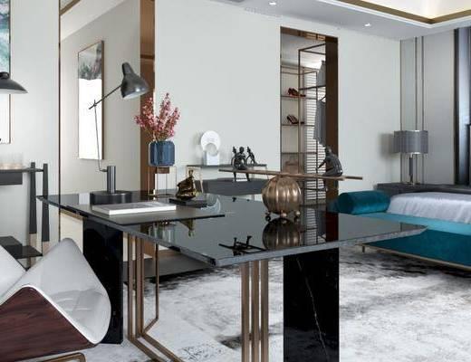 后现代卧室, 双人床, 床头柜, 台灯, 床尾塌, 桌子, 椅子, 落地灯, 后现代