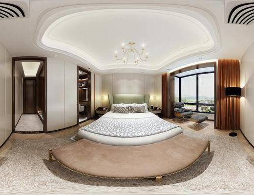 现代卧室, 吊灯, 双人床, 落地灯, 床头柜, 椅子, 桌子, 边柜, 现代
