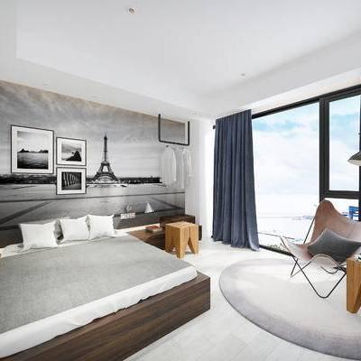 现代宾馆, 双人床, 壁画, 落地灯, 边几, 椅子, 现代