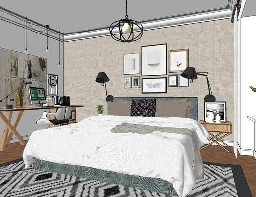 工业风卧室, 卧室, 双人床