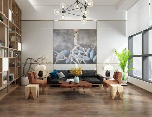 后现代, 会客厅, 沙发, 茶几, 置物架, 吊灯, 盆栽, 茶具, 书本