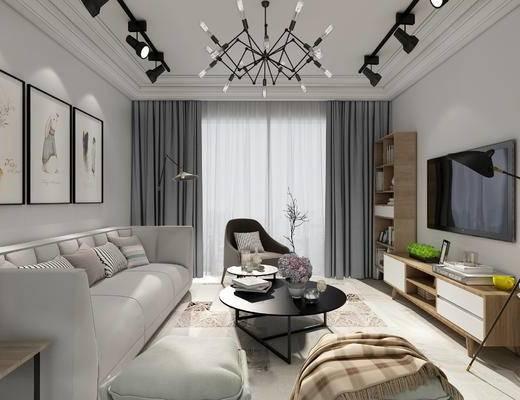 现代客厅, 多人沙发, 茶几, 沙发凳, 边柜, 落地灯, 工业管灯, 置物架, 现代