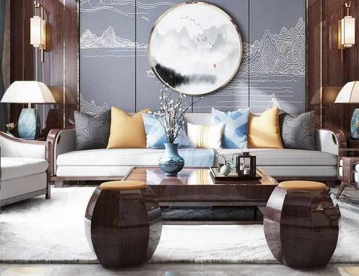 新中式客厅, 多人沙发, 茶几, 沙发椅, 壁灯, 台灯, 沙发凳, 新中式
