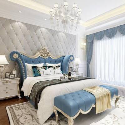 欧式卧室, 双人床, 床尾塌, 吊灯, 床头柜, 台灯, 壁灯, 花瓶, 欧式