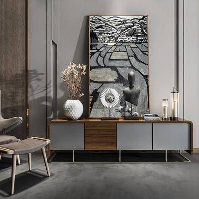 桌椅组合, 电视柜, 壁画, 椅子, 花瓶, 后现代