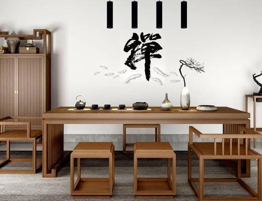 茶室, 桌子, 椅子, 边几, 盆栽, 花瓶, 置物柜, 吊灯, 新中式