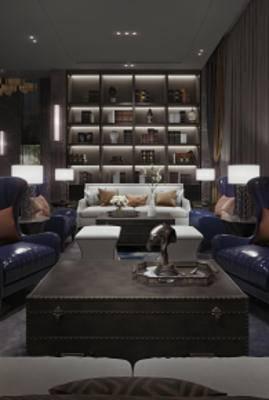 简欧销售中心, 沙发茶几组合, 摆件组合, 壁灯, 储物架, 多人沙发, 茶几, 雕塑, 简欧