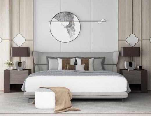 床具组合, 双人床, 床头柜, 壁画, 台灯, 沙发凳, 现代