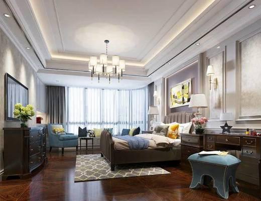 美式, 卧室, 床, 吊灯, 装饰柜, 电视柜, 梳妆台, 沙发, 椅子, 挂画, 花瓶, 台灯, 床头柜, 1000套空间酷赠送模型