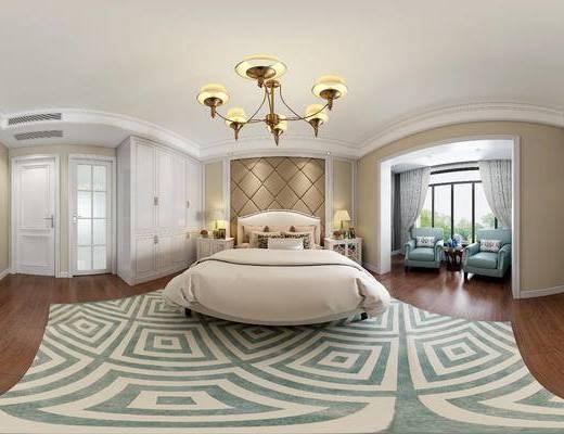 现代卧室, 双人床, 吊灯, 椅子, 边几, 床头柜, 台灯, 衣柜, 地毯, 现代