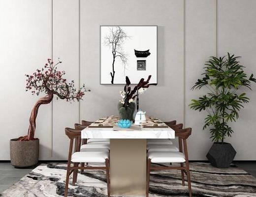 桌椅组合, 桌子, 椅子, 壁画, 盆栽, 新中式