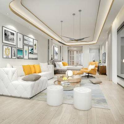 现代宾馆, 多人沙发, 沙发凳, 壁画, 吊灯, 椅子, 双人床, 柜子, 茶几, 现代