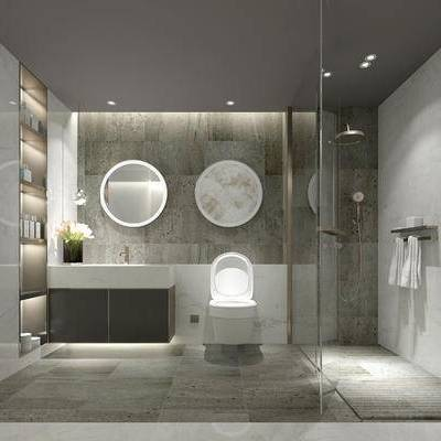卫浴, 马桶, 洗手台, 镜子, 置物柜, 淋浴间, 毛巾, 置物架, 中式