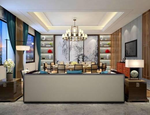 现代中式饭厅, 吊灯, 餐桌椅组合, 壁画, 储物柜, 边柜, 盆栽, 多人沙发, 台灯, 现代