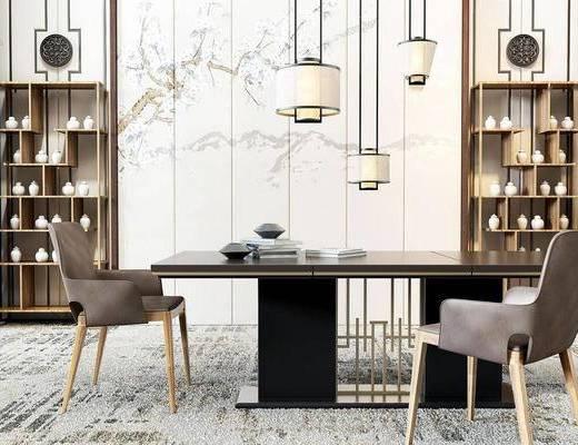 新中式, 桌椅组合, 吊灯, 置物架, 陈设品组合