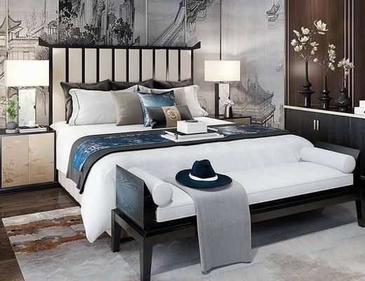 新中式, 卧室, 床, 台灯, 沙发, 床头柜, 衣柜, 植物