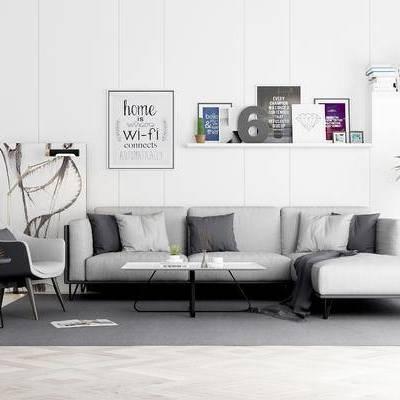 沙发组合, 椅子, 壁画, 边几, 盆栽, 置物架, 茶几, 地毯, 现代