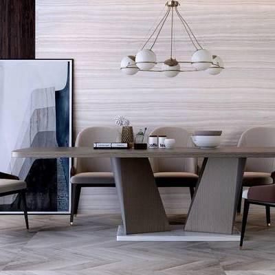 桌椅组合, 吊灯, 桌子, 椅子, 壁画, 现代